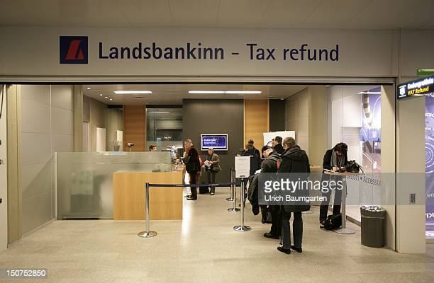 ICELAND REYKJAVIK Bank switch of the Landsbanki Island at the airport of Keflavik
