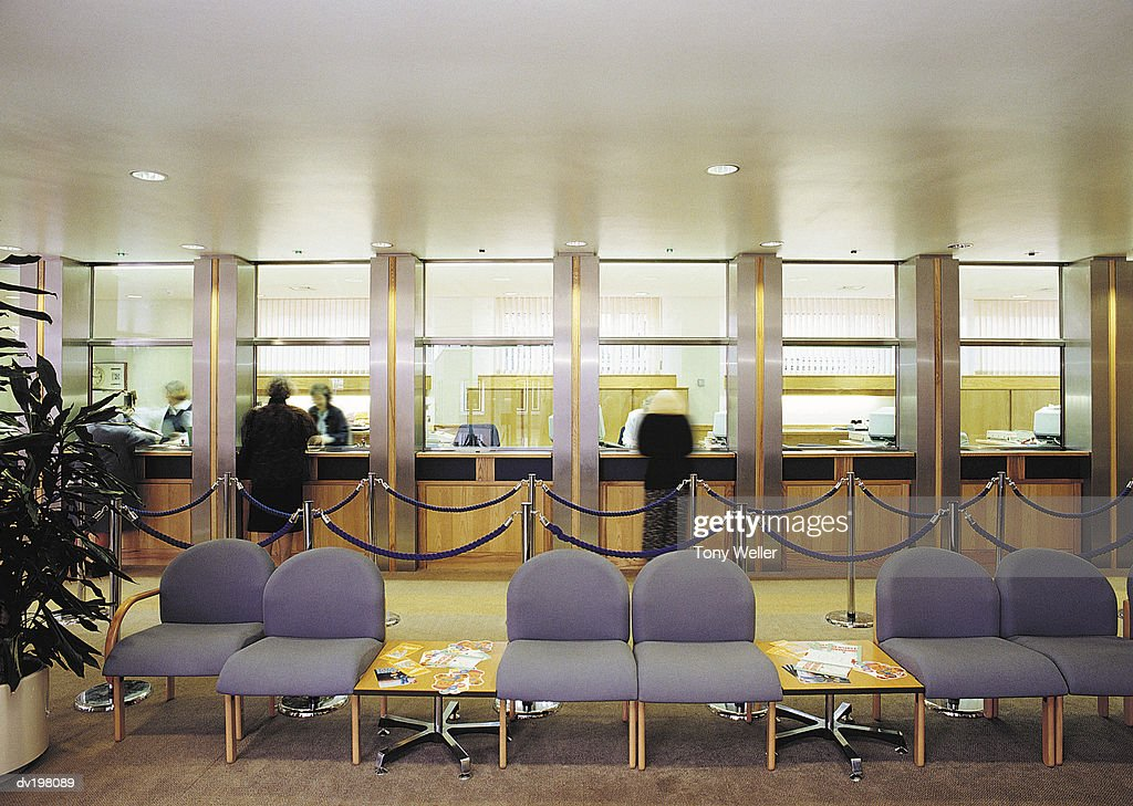 Bank teller windows : Stock Photo