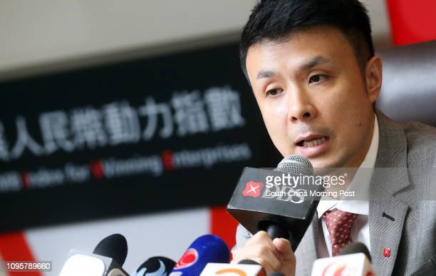 Bank Vice President, Economist, Group Research Nathan Chow Hung-lai, attends the 2Q 2015 Results of DBS RMB Index for VVinning Enterprises at The...