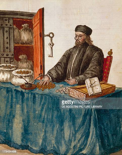 Banker illustration by Jan van Grevenbroeck from The dress of the Venetians manuscript Italy 18th century Venice Museo Correr Biblioteca