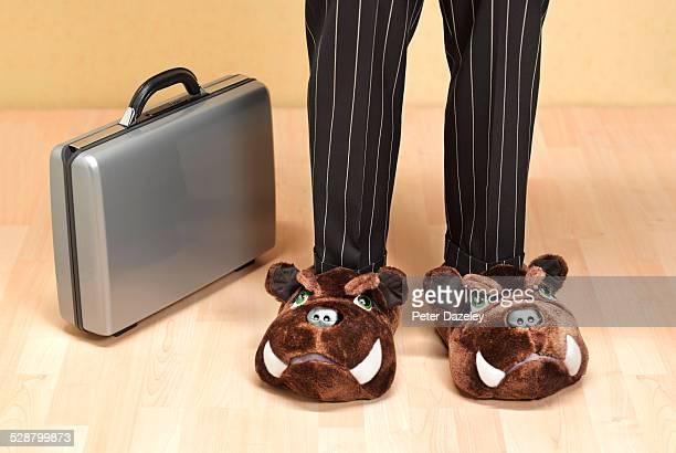 banker with bulldog shoes - スリッパ ストックフォトと画像