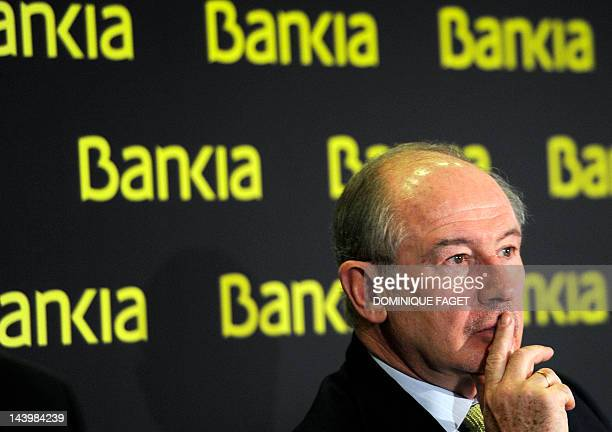 Bankia's Chairman Rodrigo Rato gives a press conference to announce the 2011 annual results in Madrid on February 10 2012 Spain's biggest grouping of...