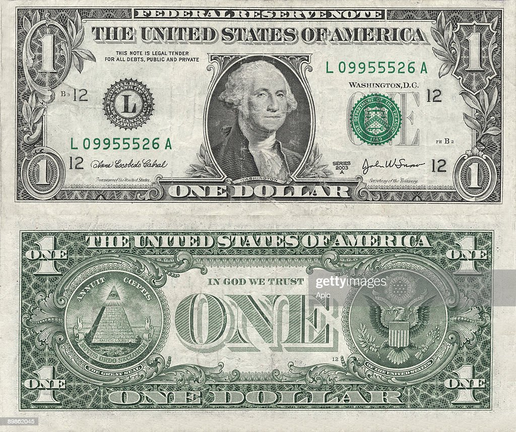 Banknote, 1 dollar, USA (series 2003) with recto : portrait of George Washington (1732-1799) and verso : the Symbol of the The Bavarian Illuminati secret society (1776-1785) and the seal of USA : News Photo