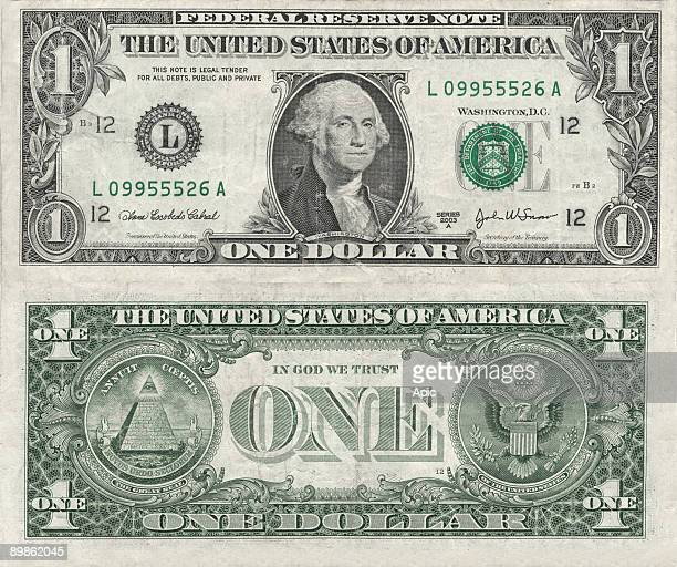 Banknote 1 dollar USA with recto portrait of George Washington and verso the Symbol of the The Bavarian Illuminati secret society and the seal of USA