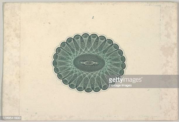 Oval lathe work ornament resembling a lace ruff, ca. 1824-42. Artist Durand, Perkins & Co.