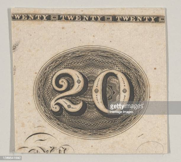The number 20 against an ornamental lathe work oval resembling woven rope, ca. 1824-42. Artist Durand, Perkins & Co.