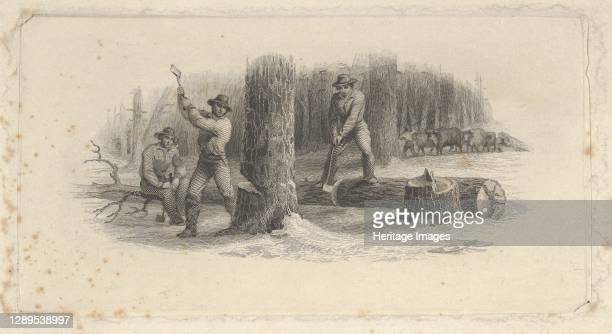 Banknote vignette showing woodsmen felling trees in a snowy forest, ca. 1824-37. Artist Attributed to Asher Brown Durand.