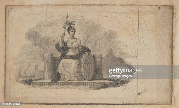 Banknote vignette with female figure representing America, ca. 1824-37. Artist Attributed to Asher Brown Durand.