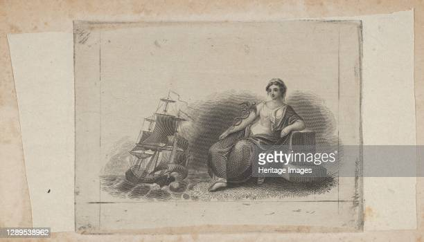 Banknote vignette with female figure representing marine commerce, ca. 1824-37. Artist Attributed to Asher Brown Durand.