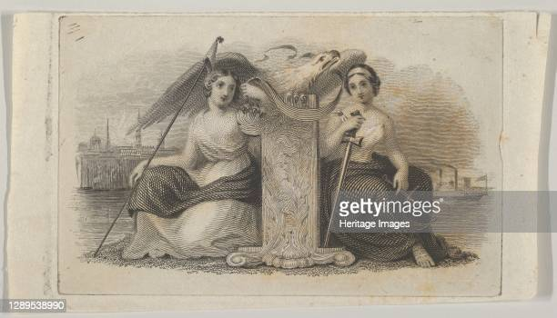 Banknote vignette with female figures representing Liberty and Justice, ca. 1824-37. Artist Attributed to Asher Brown Durand.