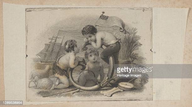 Banknote vignette with three putti as a shepherd, a farmer, and a sailor, ca. 1824-37. Artist Attributed to Asher Brown Durand.