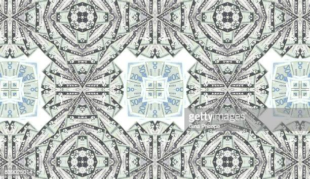 us $ 5 banknotes and euro, kaleidoscope. - money texture stock photos and pictures
