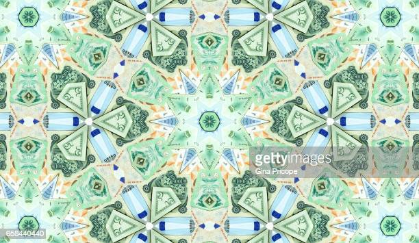 Banknotes from various countries, kaleidoscope.
