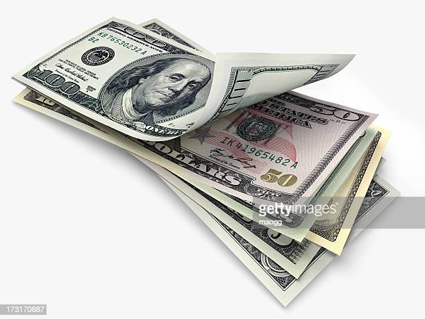 us banknotes in different denominations - american one dollar bill stock pictures, royalty-free photos & images