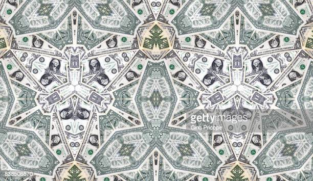 us $ 1 banknotes kaleidoscope - american one dollar bill stock pictures, royalty-free photos & images