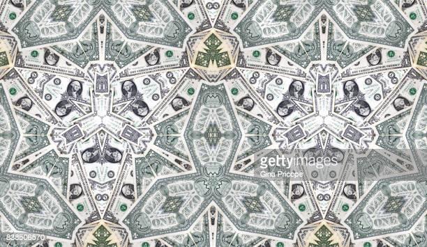 us $ 1 banknotes kaleidoscope - monnaie photos et images de collection