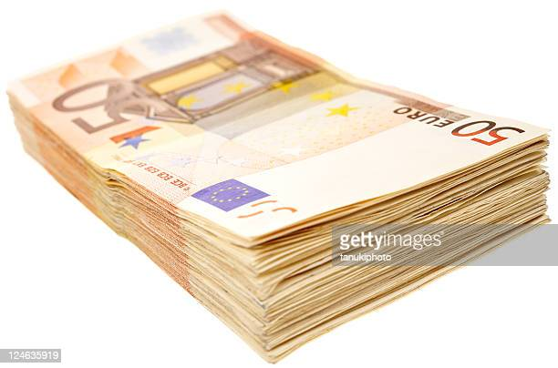 banknotes of 50 euro - bundle stock pictures, royalty-free photos & images