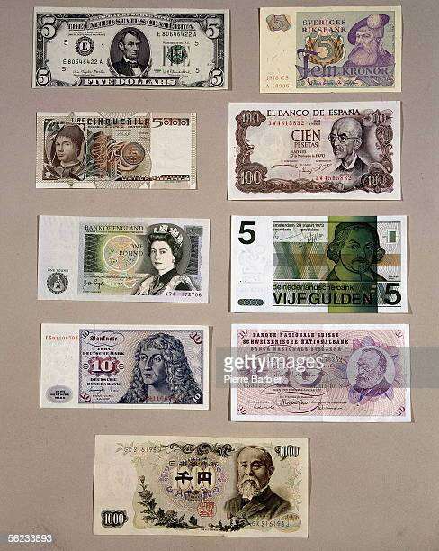 Banknotes of different countries USA Sweden Italy Spain England Netherlands Germany Swiss and Japan