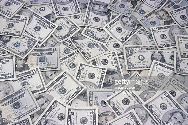 us banknotes - 10 dollar schein us dollar geldschein stock-fotos und bilder