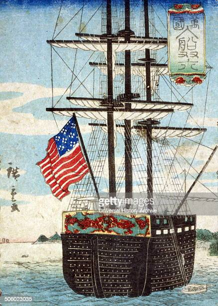 Bankoku nyusen sugoroku by Hiroshige Utagawa 18261869 japanese artist 1860 print showing a sailing ship with an American flag in a harbor illustrated...