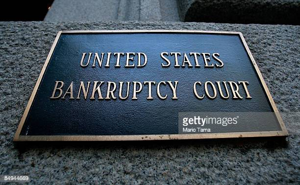S Bankruptcy Court sign is seen outside a meeting of creditors of Bernard L Madoff Investment Securities LLC at the auditorium of the United States...