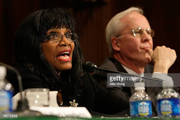 Bankruptcy judge Jacqueline Cox speaks as bankruptcy judge Thomas Bennett listens during a hearing before the Senate Judiciary Committee December 5...