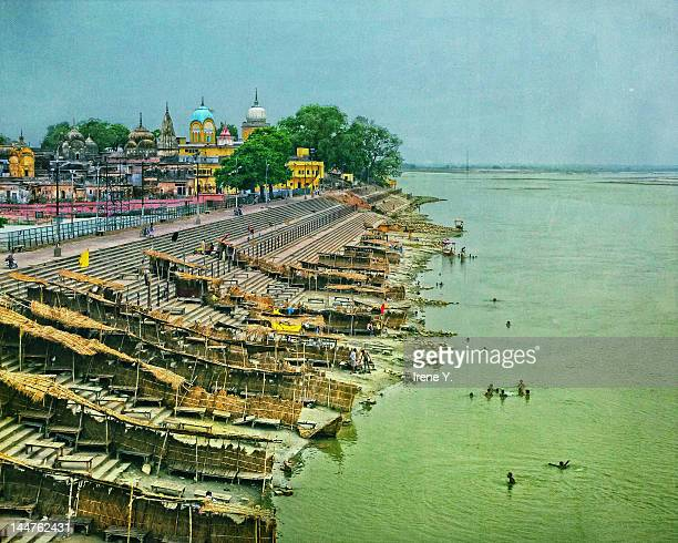 banks of saryu river - ayodhya stock photos and pictures