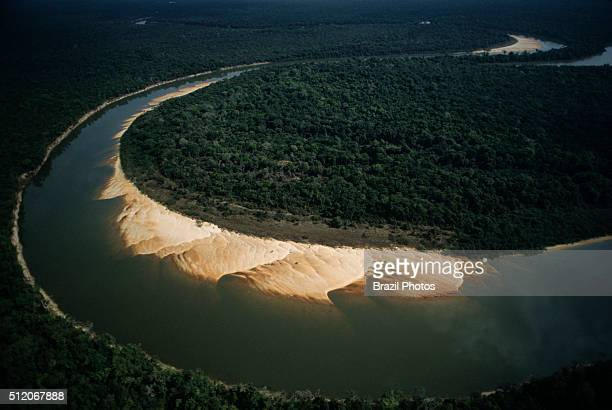 Banks of the Cocos river showing sand slopes fluvial beach or river beach Cantao State Park border at Ilha do Bananal the world´s largest fluvial...