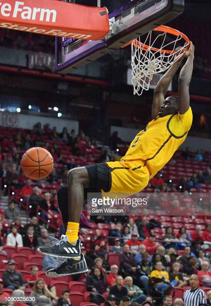 J Banks of the Wyoming Cowboys dunks against the UNLV Rebels during their game at the Thomas Mack Center on January 05 2019 in Las Vegas Nevada The...