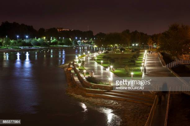 Banks of the Zayandeh River in Isfahan, Iran