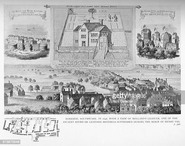 Bankside Southwark London in 1648 1818 With a view of Holland's Leaguer one of the ancient stews or licensed brothels suppressed during the reign of...