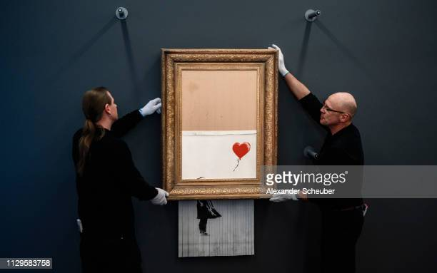 """Banksy's """"Love In The Bin"""" is on view to the public at Museum Frieder Burda on February 04, 2019 in Baden-Baden, Germany. Originally titled """"Girl..."""