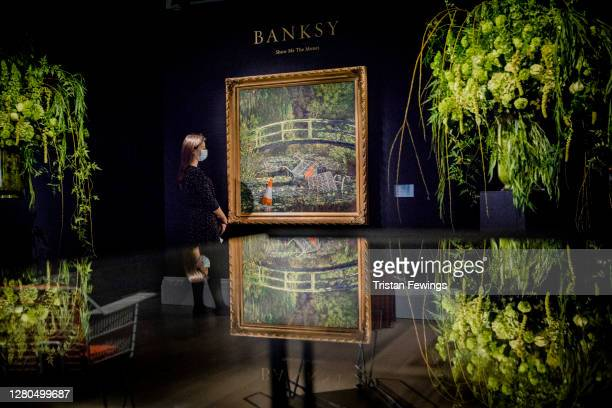 Banksy's 'Show me the Monet' est. £3-5 million, goes on view at Sotheby's on October 16, 2020 in London, England. The artwork is one of the...