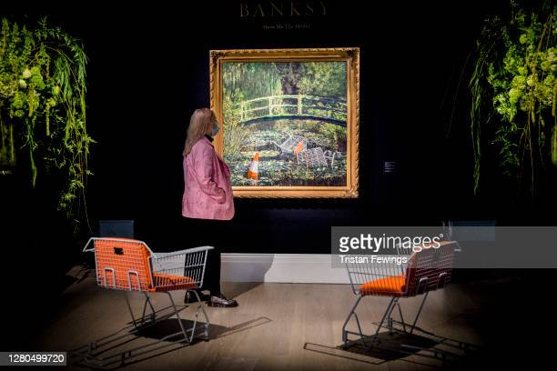Banksy's 'Show me the Monet' est £35 million goes on view at Sotheby's on October 16 2020 in London England The artwork is one of the highlights of...