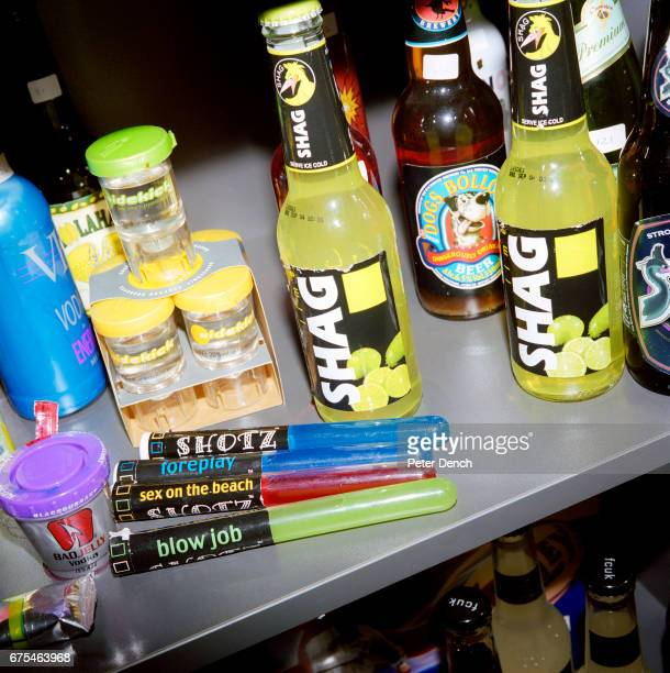 Banned alcohol products on display in the London offices of the Portman Group Established in 1989 by the UK's leading alcohol producers its role is...