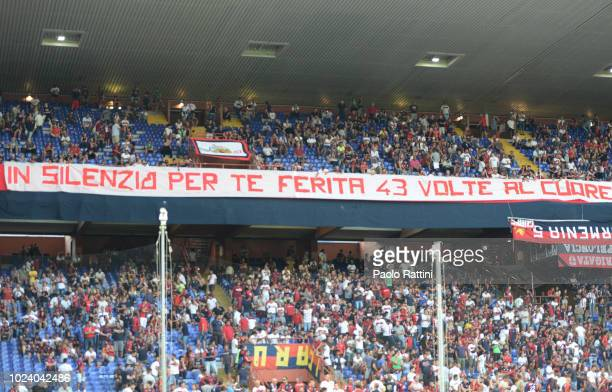 A banner about the death of 43 people in the Morandi Bridge collapse during the serie A match between Genoa CFC and Empoli at Stadio Luigi Ferraris...