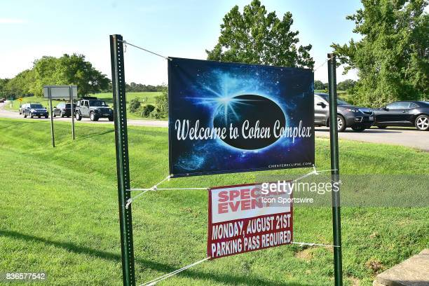 A banner advertises a special eclipse watch outside Chester IL before a total eclipse of the sun on August 21 as viewed from the Cohen Recreation...