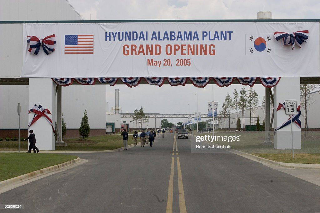A Banner Announces The Grand Opening Ceremony For The First Hyundai  Manufacturing Plant In The United