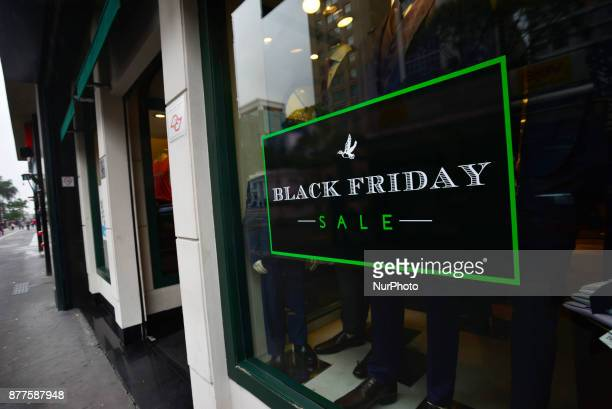 A banner announcing Black Friday sales at a shop in São Paulo Brazil 22 November 2017 'Forbes' magazine mocked Black Friday in Brazil and said it was...