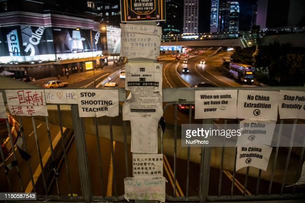 Banner are seen stuck to a bridge in Hong Kong China 18 June 2019