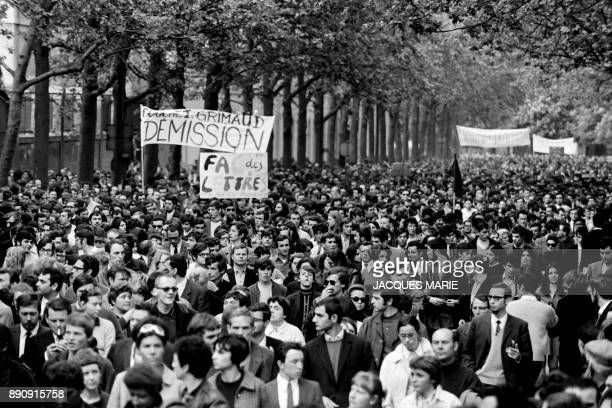 A banner asks the resignation of the prefect Maurice Grimaud during the demonstration of May 13 1968 in Paris Demonstrator march 13 May 1968 in Paris...