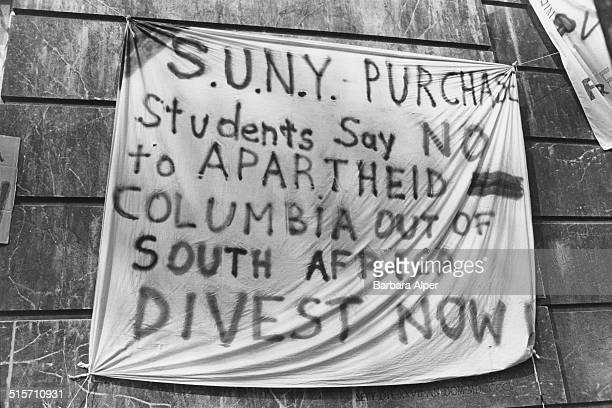 A banner at an antiapartheid protest by students at the entrance to the Hamilton Hall building of Columbia University New York City 4th April 1984...