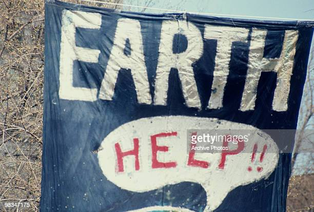 A banner at the inaugural Earth Day New York City 22nd April 1970 Earth Day is held annually to raise awareness of environmental issues
