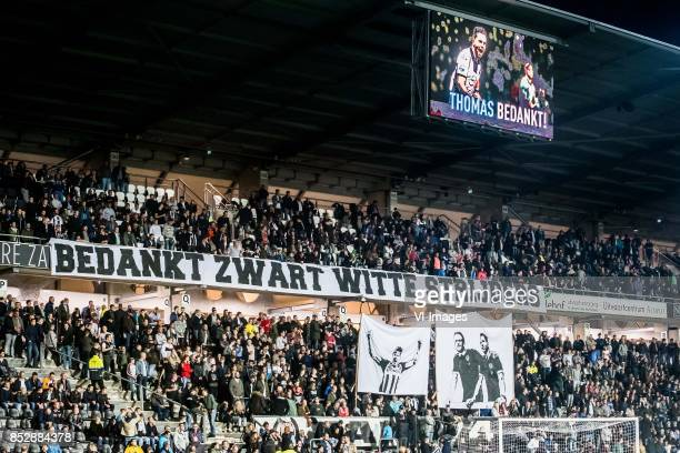 banner bedankt zwart witte strijders during the Dutch Eredivisie match between Heracles Almelo and Roda JC Kerkrade at Polman stadium on September 23...