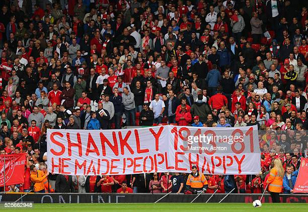 A banner celebrating Bill Shankly a former manager of Liverpool