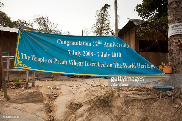 Banner celebrating World Heritage inclusion, Preah Vihear temple, Cambodia