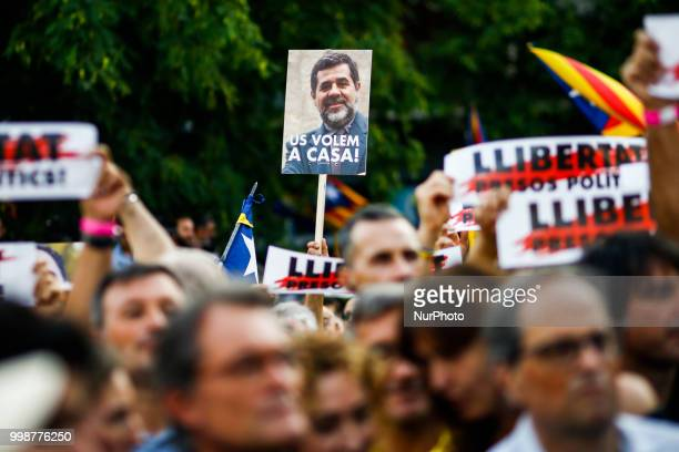 Banner claiming the freedom for acitivist jailed Jordi Sanchez during the demonstration of Independence political parties and independence...