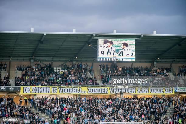 banner de zomer is voorbij zonder vrienden aan onze zij during the Dutch Eredivisie match between Heracles Almelo and Ajax Amsterdam at Polman...