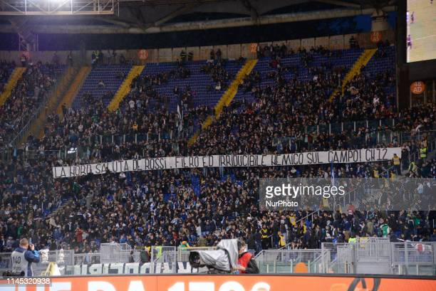 Banner dedicate to Daniele De Rossi of AS Roma during the Italian Serie A football match between SS Lazio and Bologna at the Olympic Stadium in Rome...