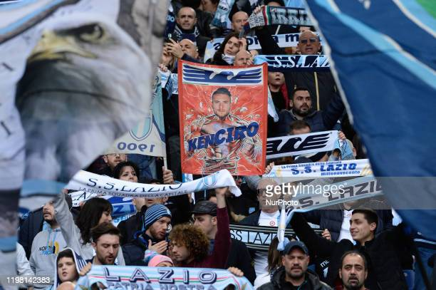 Banner dedicated to Ciro Immobile 'KenCiro' exposed in Curva Nord during the Italian Serie A football match between SS Lazio and Spal at the Olympic...